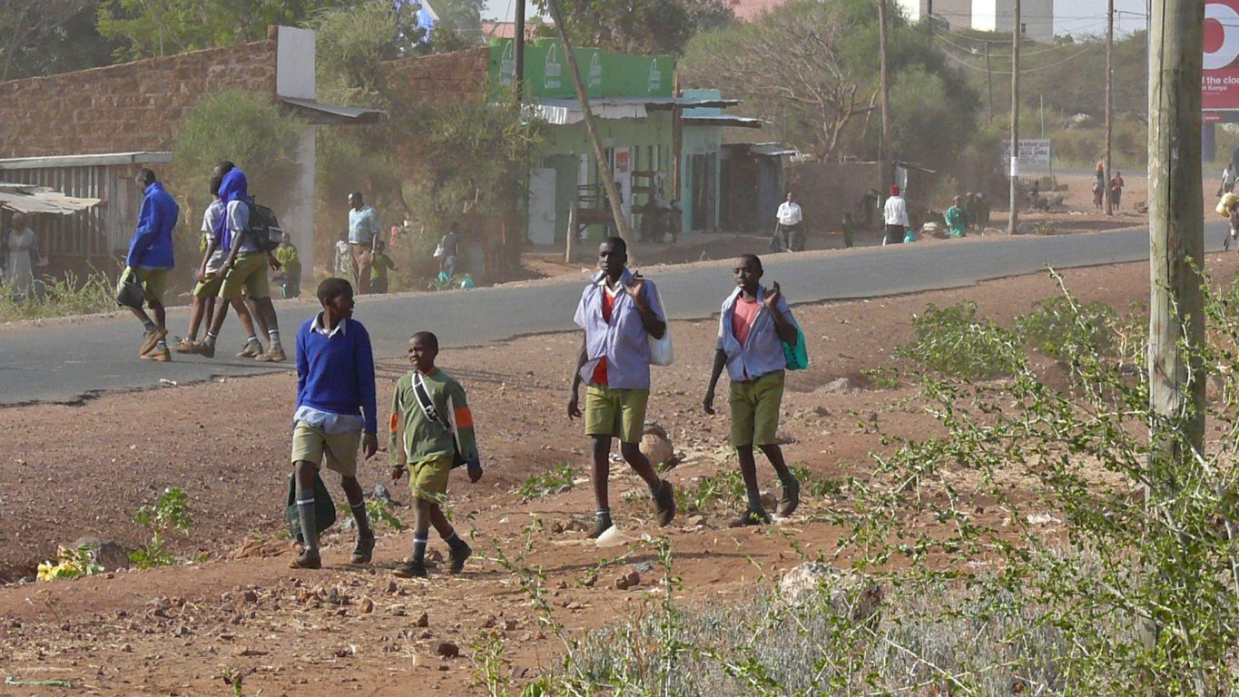 Isiolo Students Are Going Home From School At Isiolo