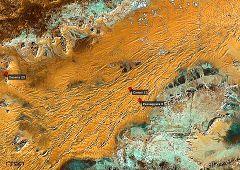 Mappa con vista sulle dune allineate