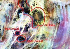 Mappa Jebel Arkenu e Uweinat